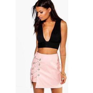Boohoo Sofia lace up side leather mini skirt Blush